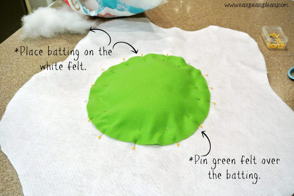 DIY Egg costume tutorial for Dr. Seuss Green Eggs and Ham Costume add green yolk to egg white.