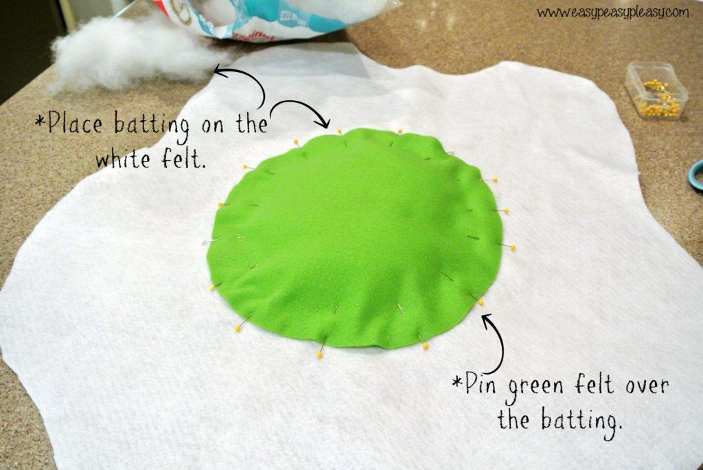 DIY Egg costume tutorial for Dr. Seuss Green Eggs and Ham Costume add green yolk to egg white.