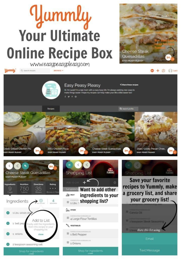 Yummly is your ultimate online recipe box! This free app and website is the perfect tool for all you home chefs and bloggers! Make your shopping list easy!