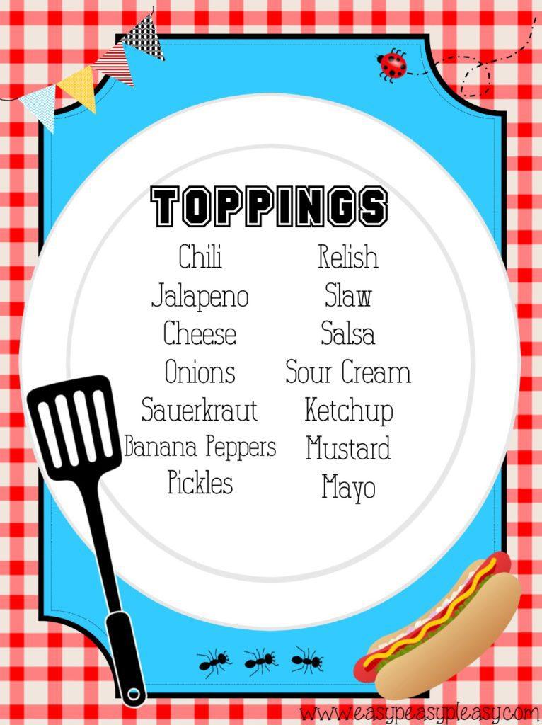 Hot Dog Bar Toppings List