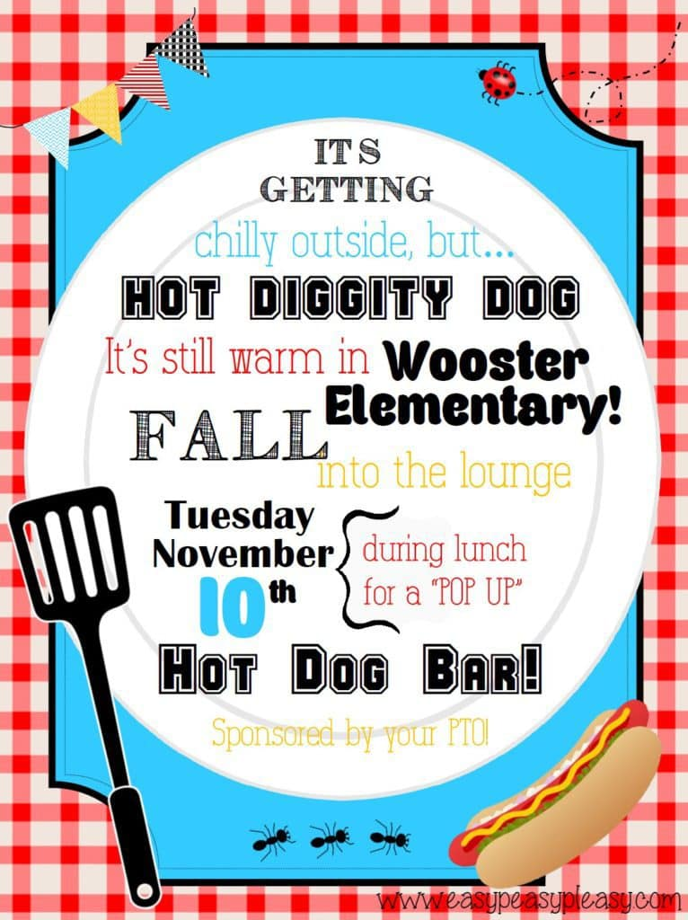 Hot Dog Bar Teacher Appreciation Lunch Flyer. Free printable blank flyer that you can customize!