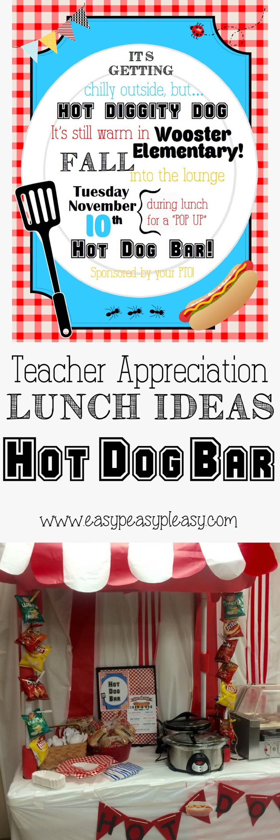 Teacher Appreciation Lunch Ideas Hot Dog Bar! Free blank flyer that you can customize!