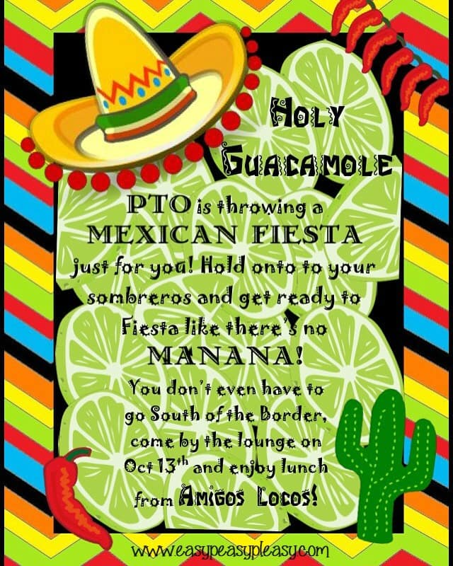 Teacher Appreciation Lunch Ideas Mexican Fiesta Flyer Invitation!