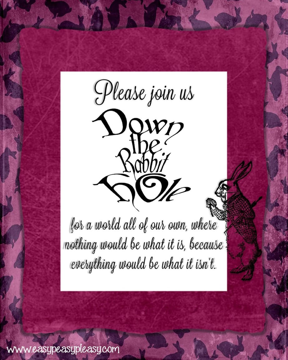 Alice in Wonderland Down the Rabbit Hole Teacher Appreciation Week Flyer!