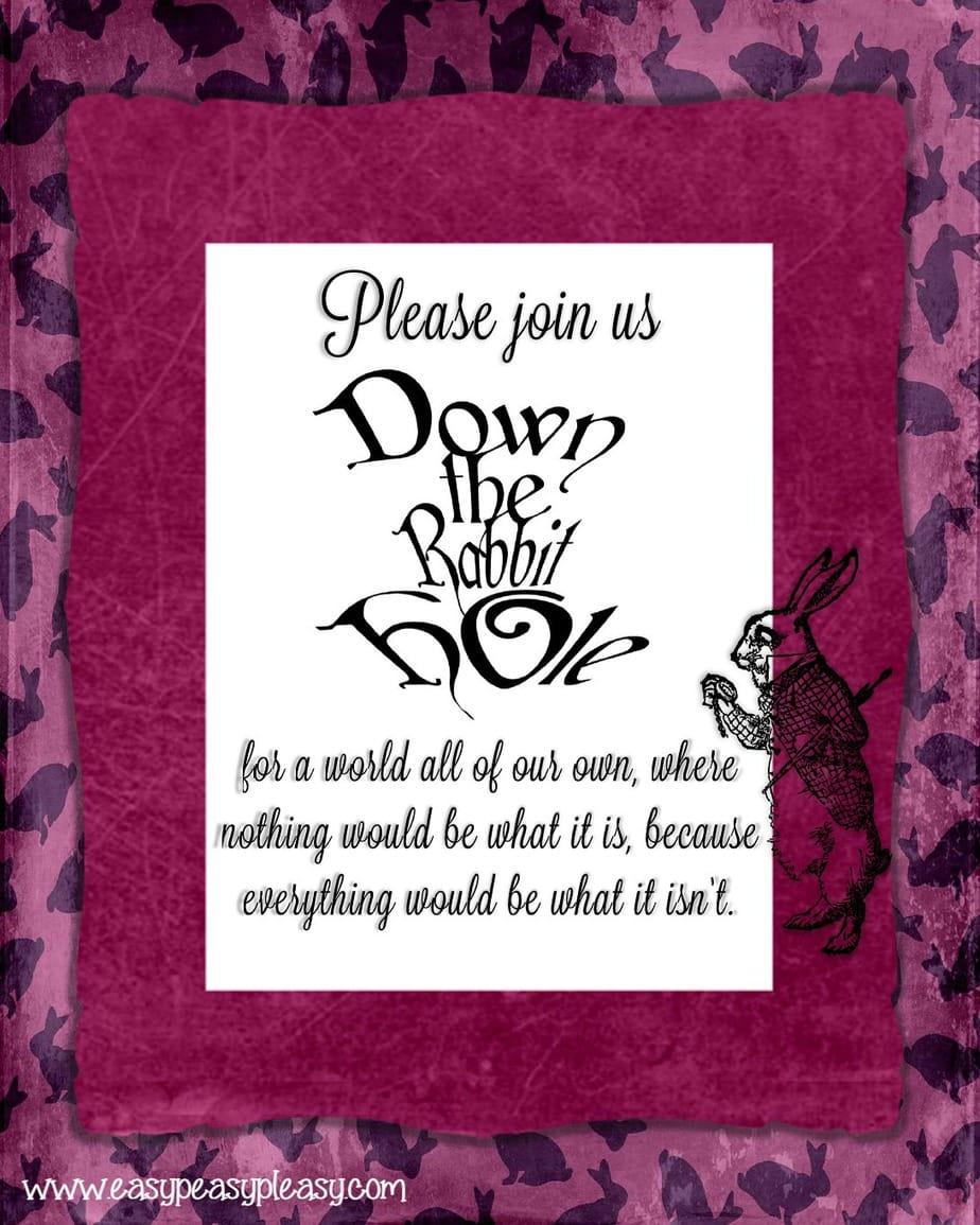 Alice in Wonderland Down the Rabbit Hole Teacher Appreciation Week Flyer!
