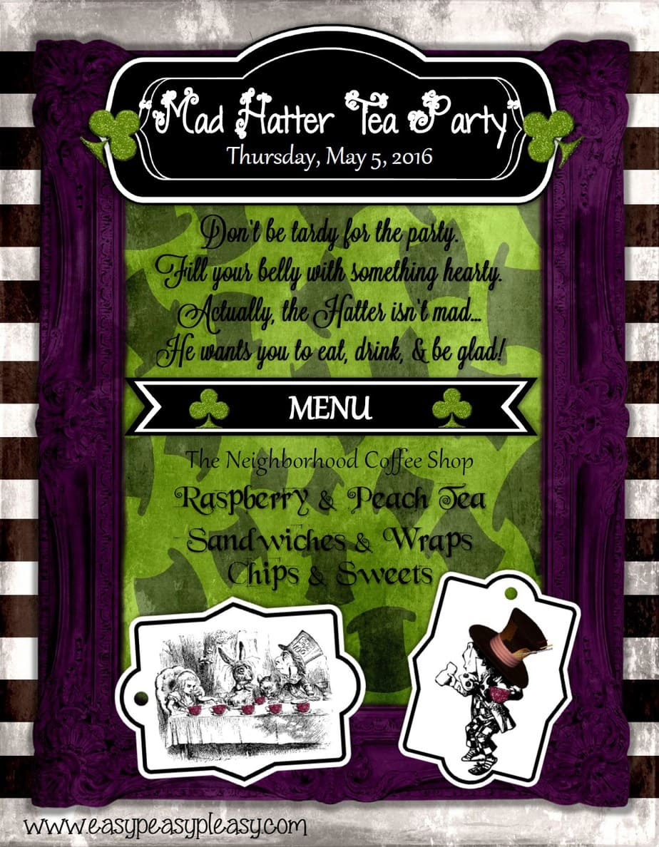 Alice in Wonderland Teacher Appreciation Mad Hatter Tea Party Itinerary!