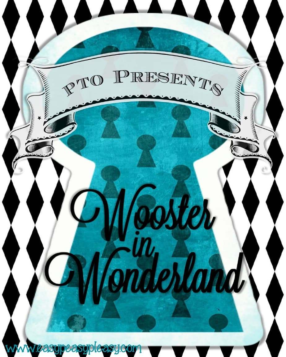 Alice in Wonderland Teacher Appreciation Week PTO flyer.