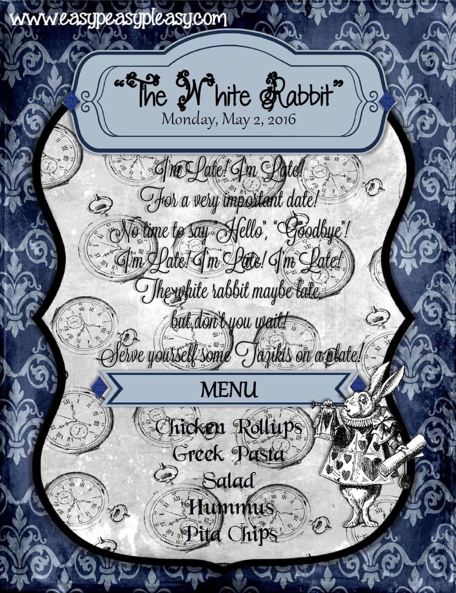 Alice in Wonderland Teacher Appreciation Week The White Rabbit flyer!