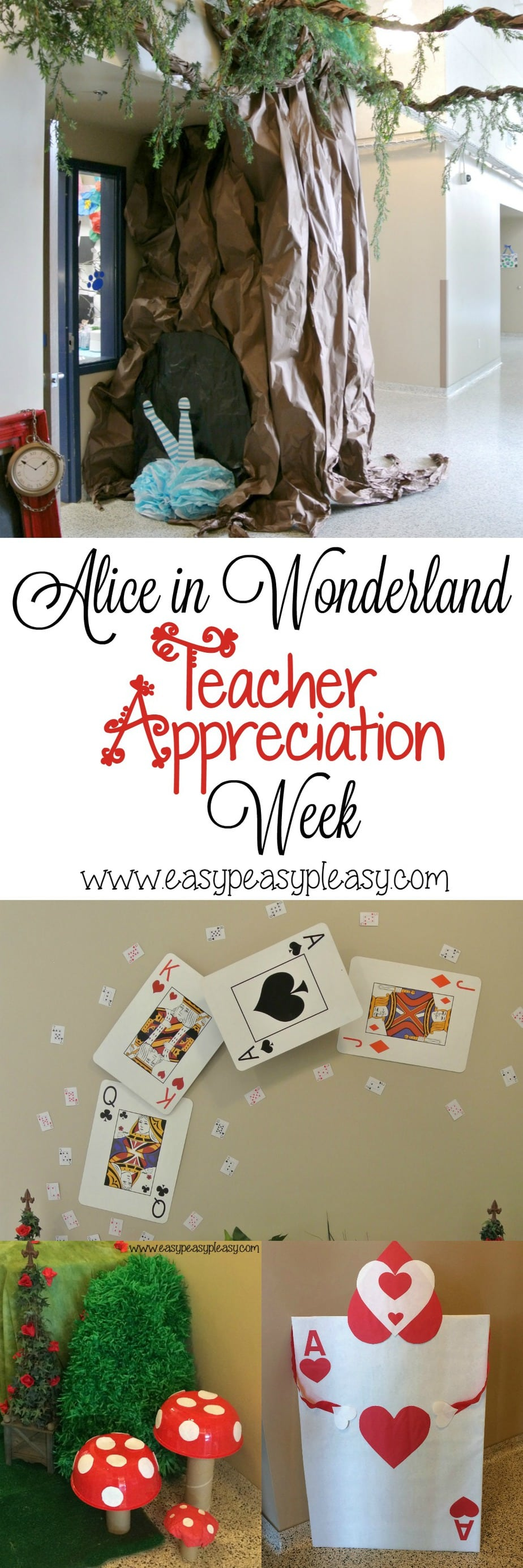 Alice in Wonderland Themed Teacher Appreciation week DIY ideas that would work for any party!