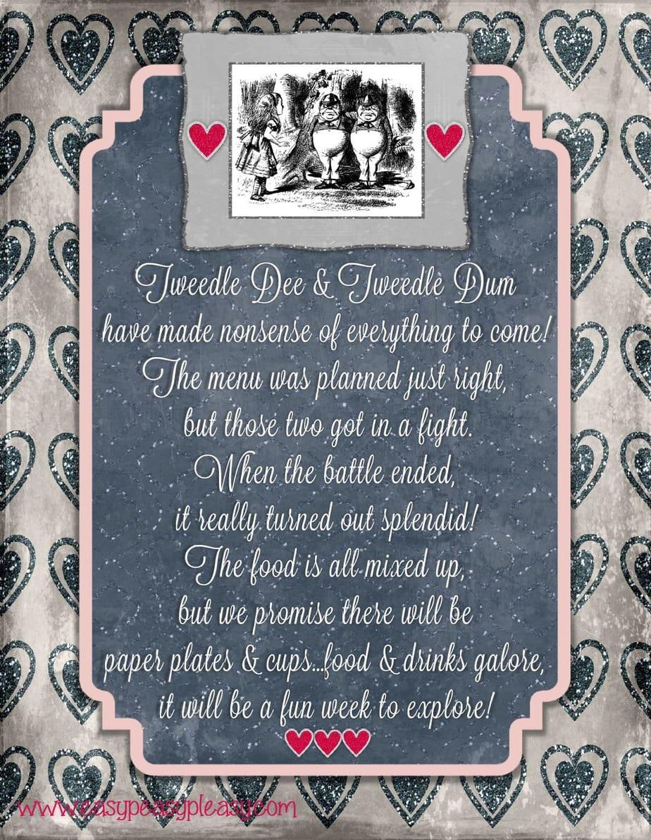 Tweedle Dee and Tweedle Dum Alice in Wonderland Teacher Appreciation Week Flyer