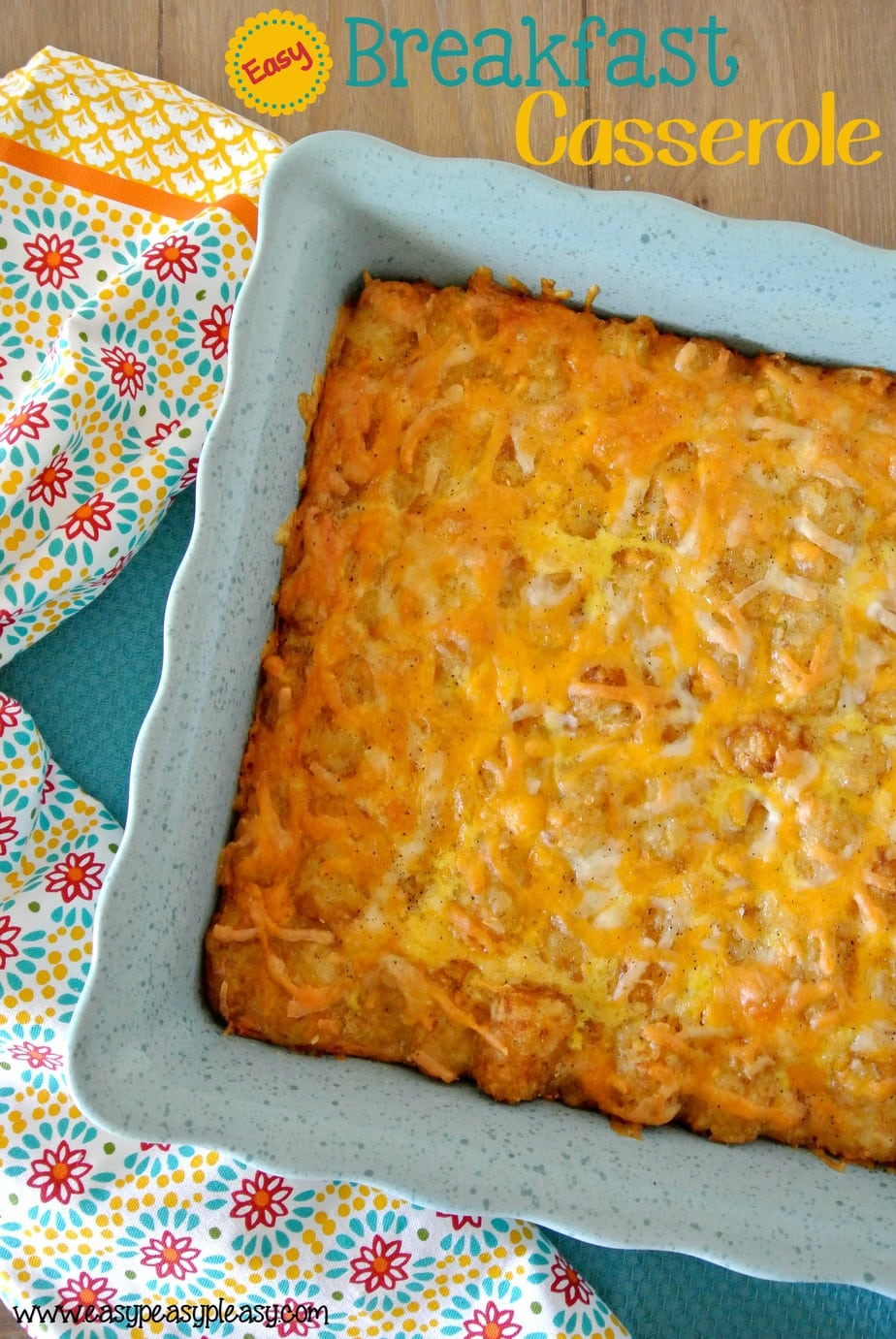 Easy Overnight Breakfast Casserole will make waking up a cinch and everyone will love you cause it's so delicious! Prepare the night before and bake the next morning!
