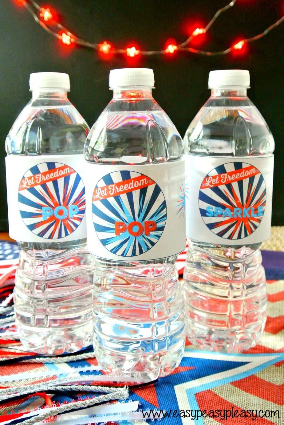 Free Printable Patriotic Pack Bottle Wrappers.