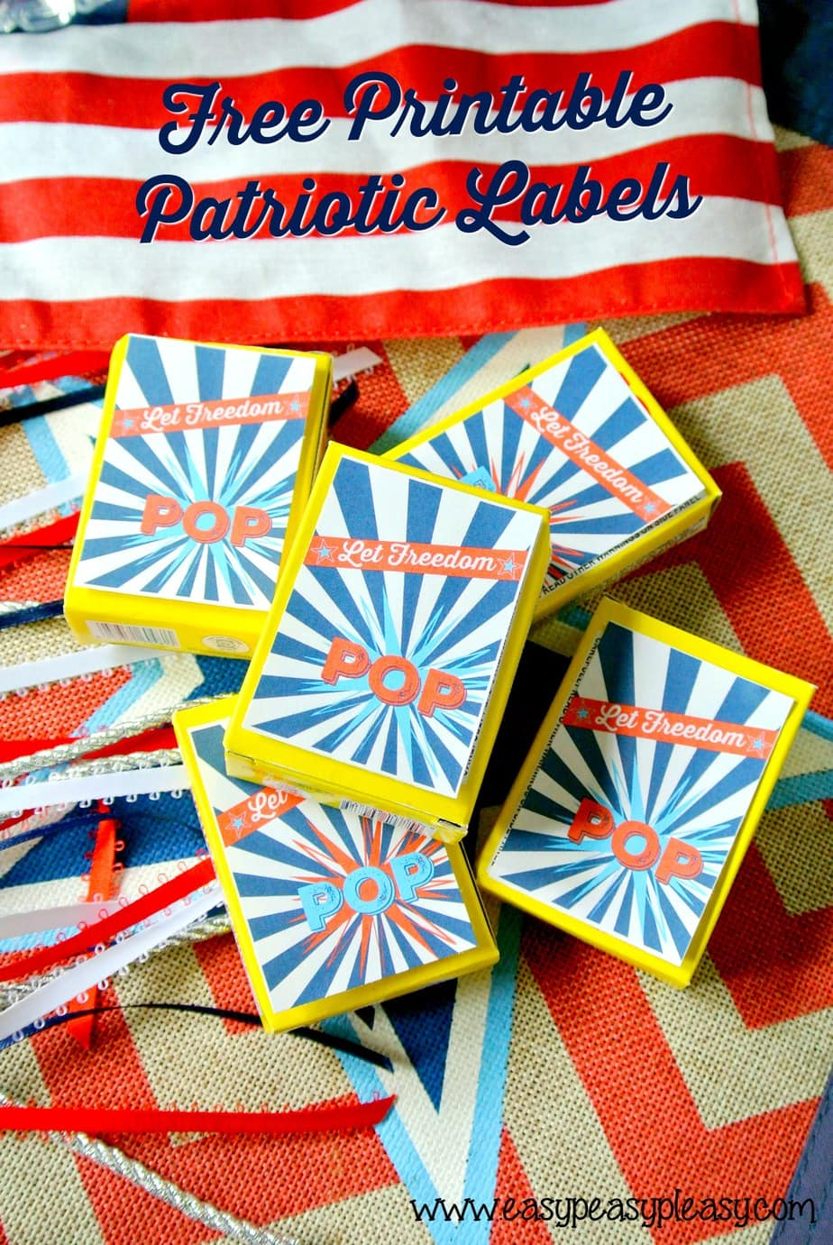 Free Printable Patriotic Pack Labels for treats and snap pops.