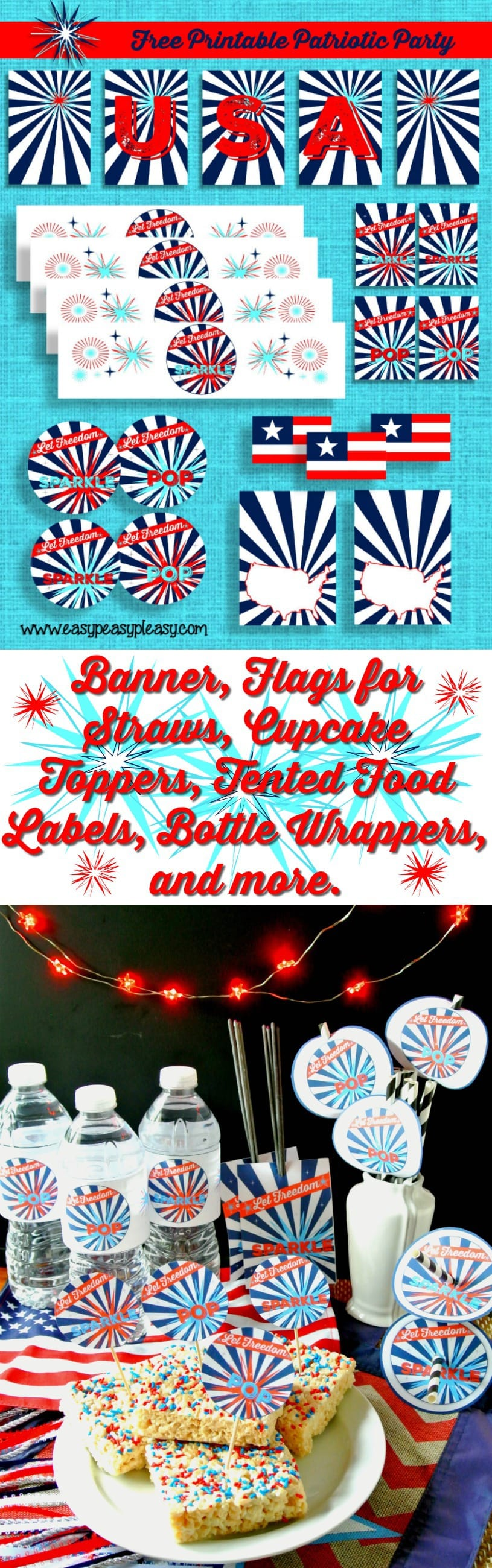 Free Printable Patriotic Party Pack including banner, Straw Flags, Treat Toppers, Bottle Wrappers, Sparkler Labels, and more!
