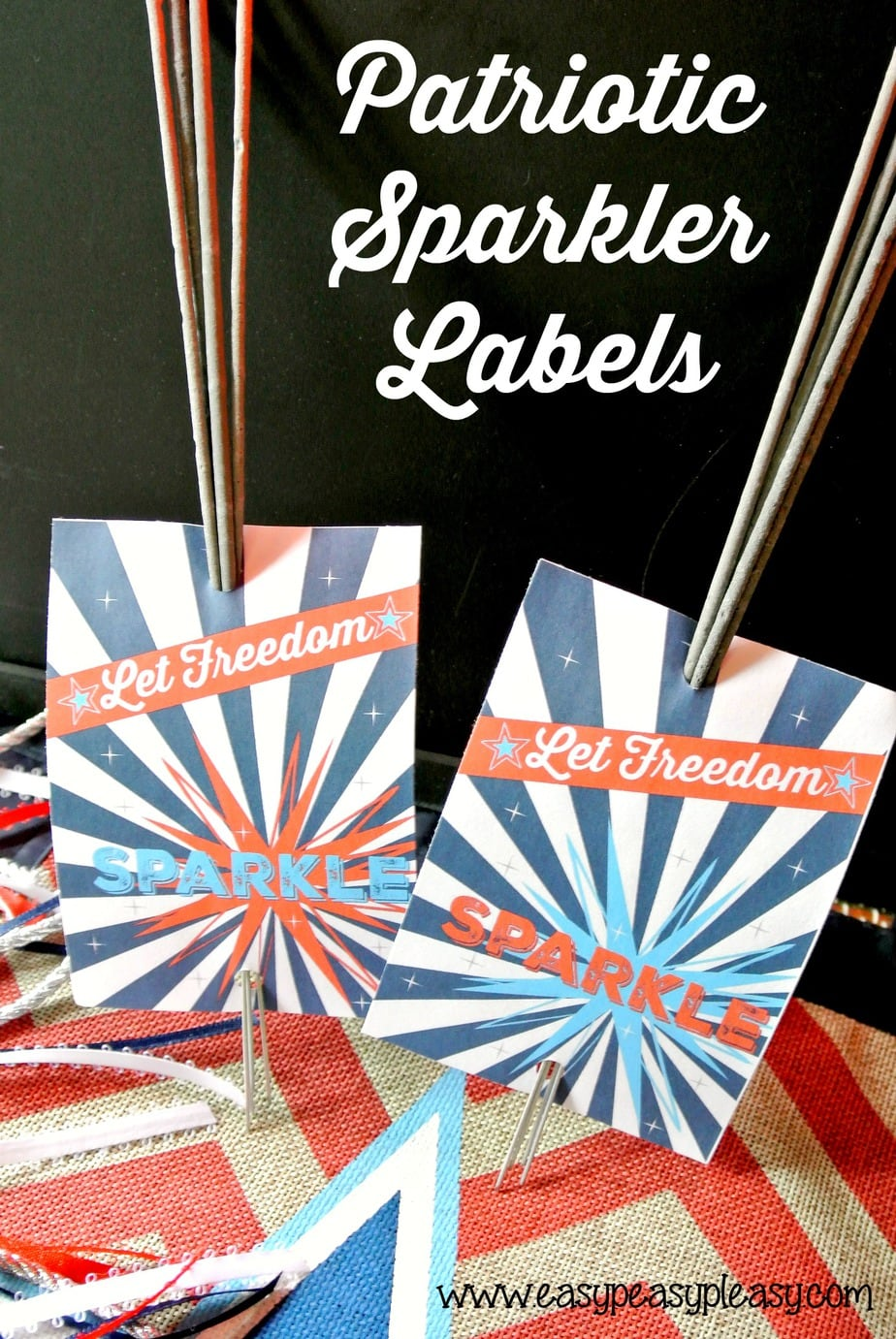 Free Printable Patriotic Sparkler Labels and other party printables.