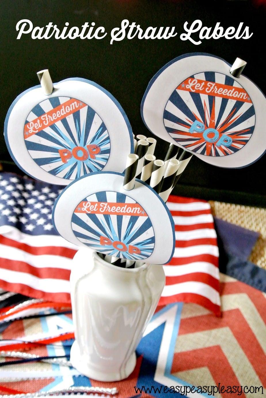 Free Printable Patriotic Party Pack Straw Labels.