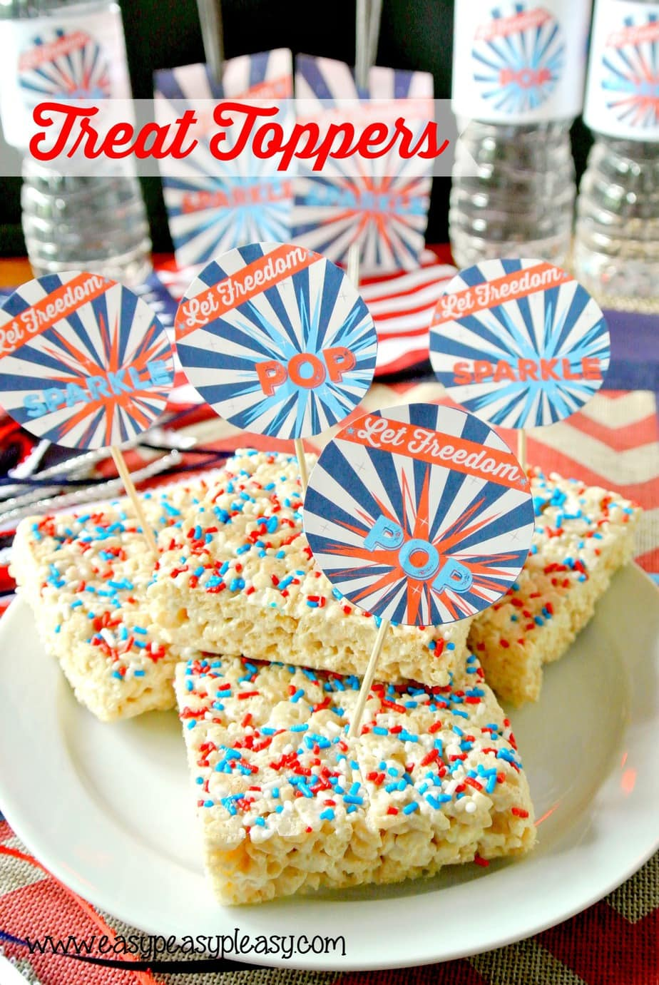 Free Printable Patriotic Treat Toppers and other party printables.