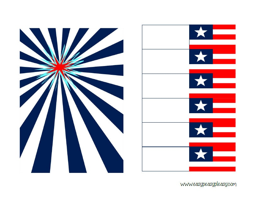 Patriotic July 4th Banner Right side and flags for straws free printables.