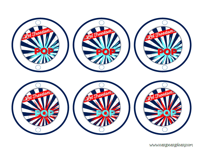 Free printable Patriotic Party Pack July 4th Round straw labels