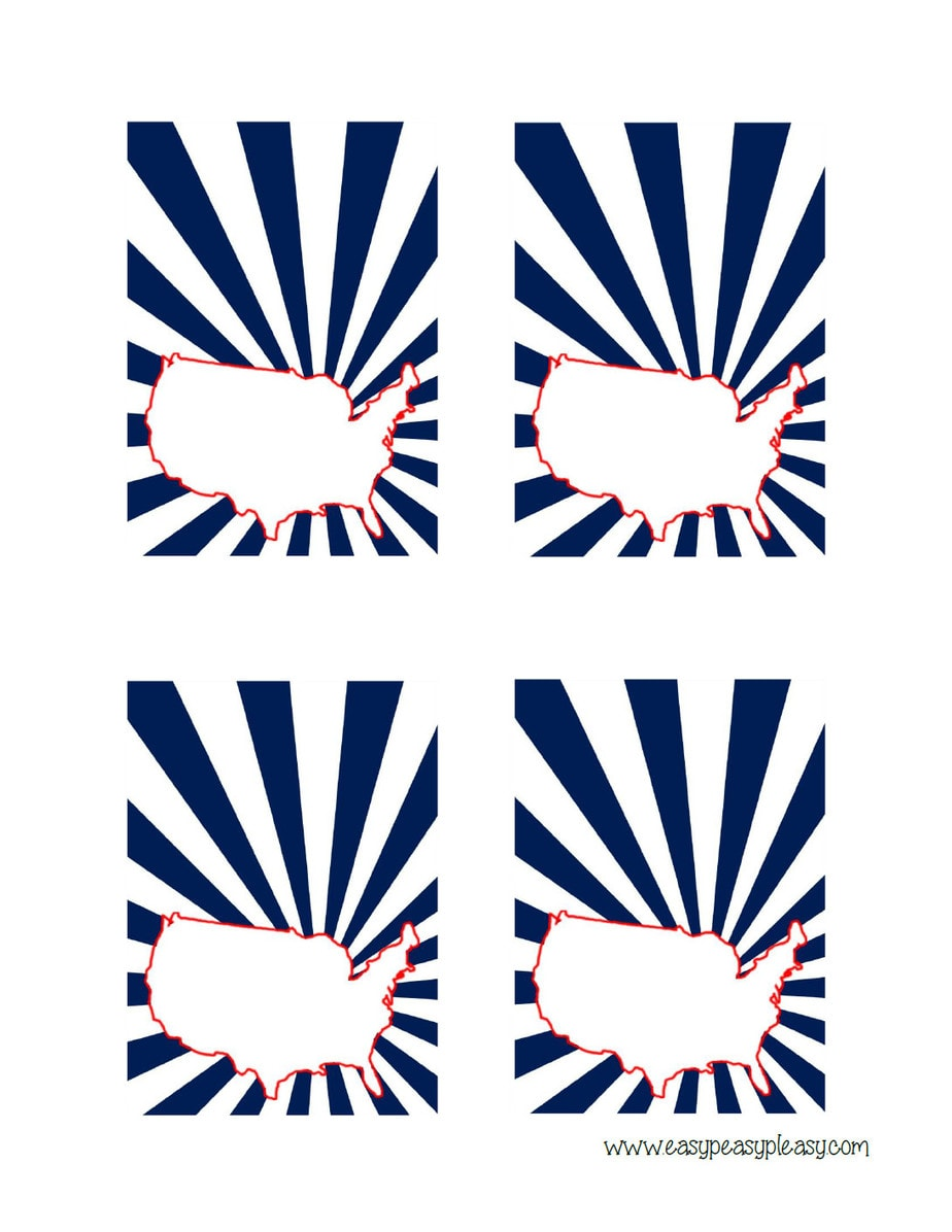 Patriotic July 4th US Map food place cards.