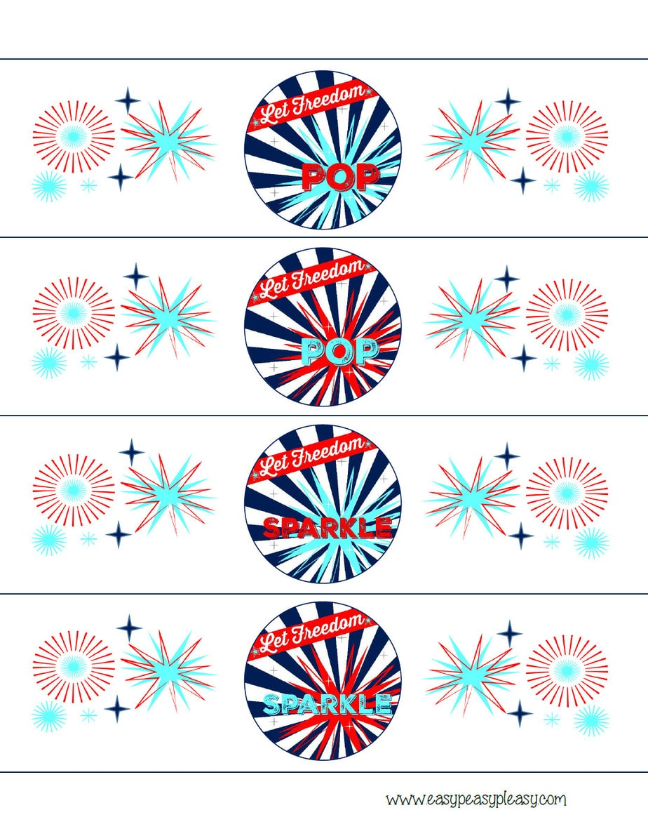 Patriotic July 4th bottle wrappers free printable.