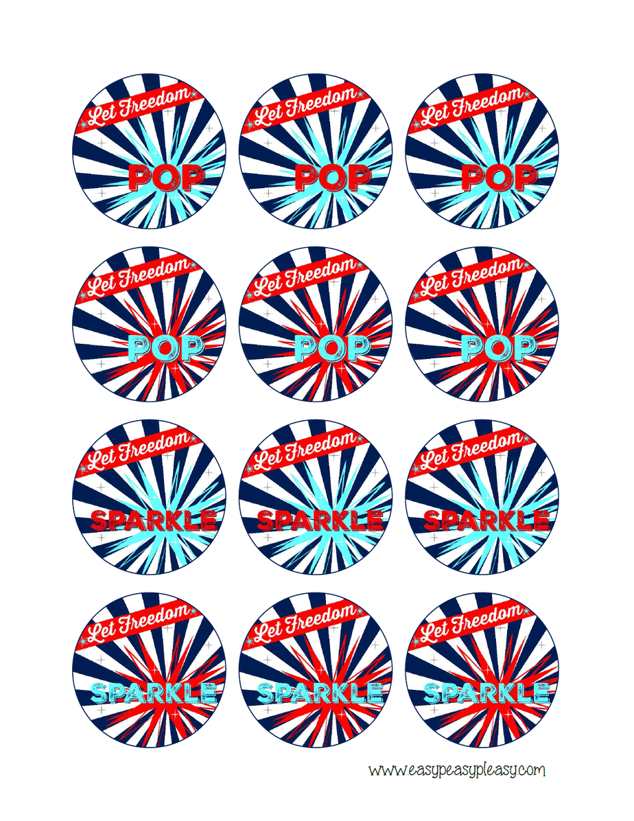 Free Printable Patriotic July 4th round label treat toppers.