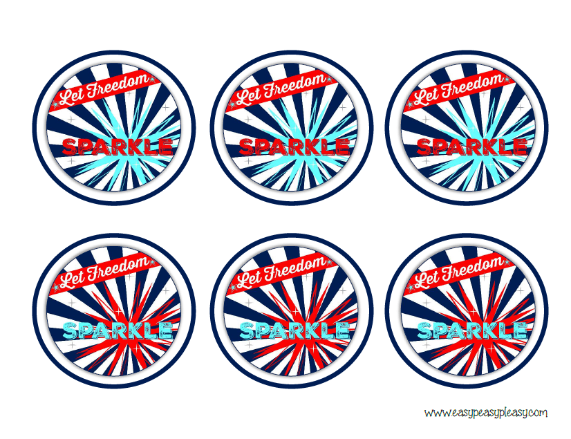 Patriotic July 4th round labels for straws center to cover cup for bugs