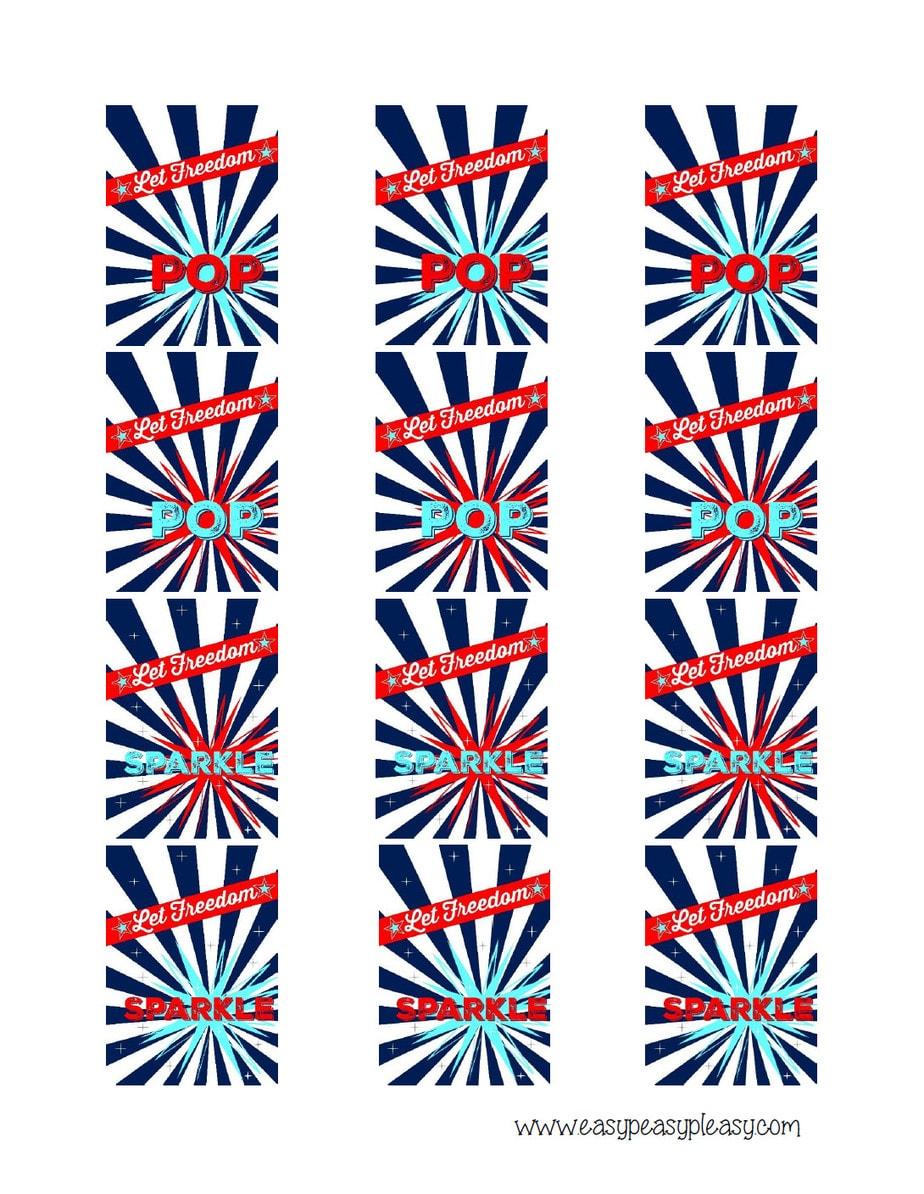 Patriotic July 4th snap pops free printable.