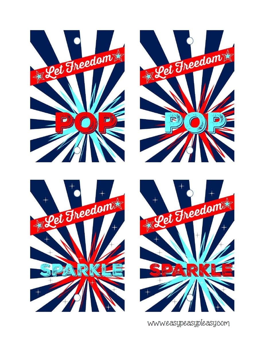 Free Printable Patriotic Party Pack July 4th sparkler printable.
