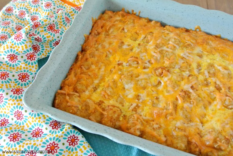 This Easy Overnight Breakfast Casserole uses only 4 ingredients and some salt & pepper! Prepare the night before and bake the next morning!