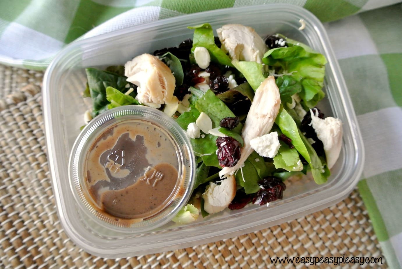 From salad to container to cooler to trash. Check out these easy To Go salads that require no cleanup and are perfect for the cooler.