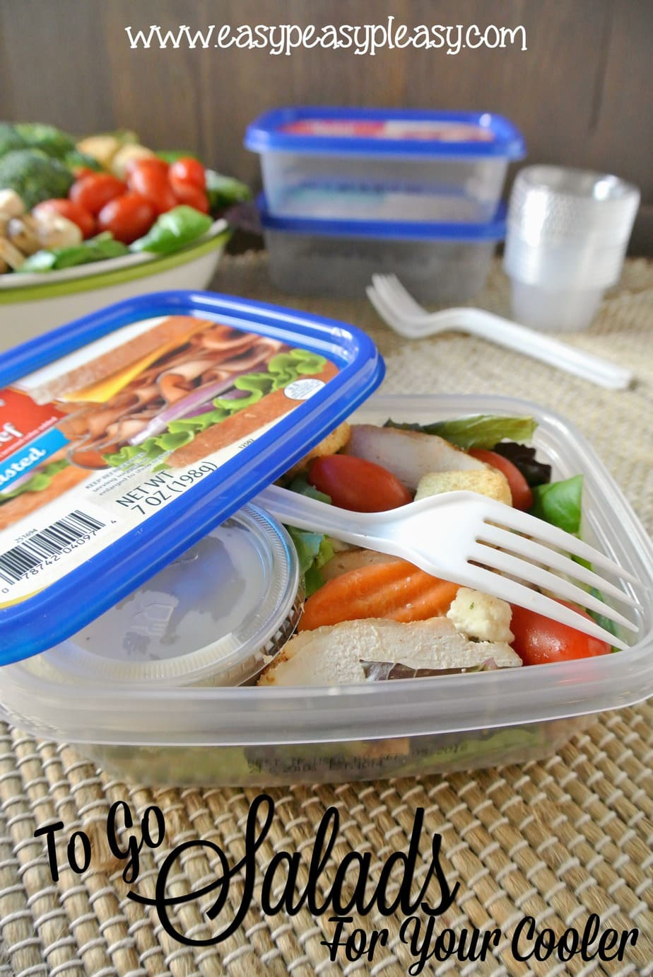 From salad to container to cooler to trash. You are gonna want all the details on how to make boating, camping, beaching, and tailgating easy with these To Go Salads for your cooler!
