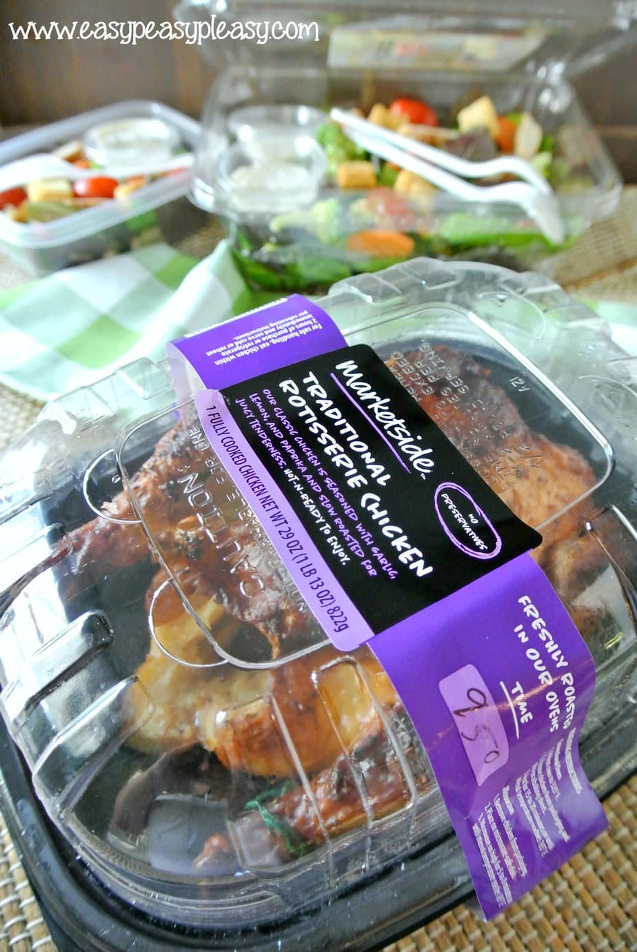 Make my To Go Salads with no cleanup easier using a rotisserie chicken.