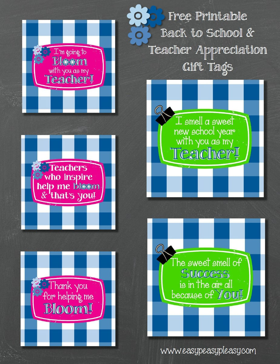 Free Printable Back To School and Teacher Appreciation Gift Tags and gift idea.