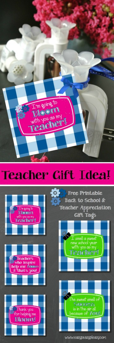 Free Printable Teacher Gift Tags are perfect for Teacher Appreciation and Back to School Gift Ideas!