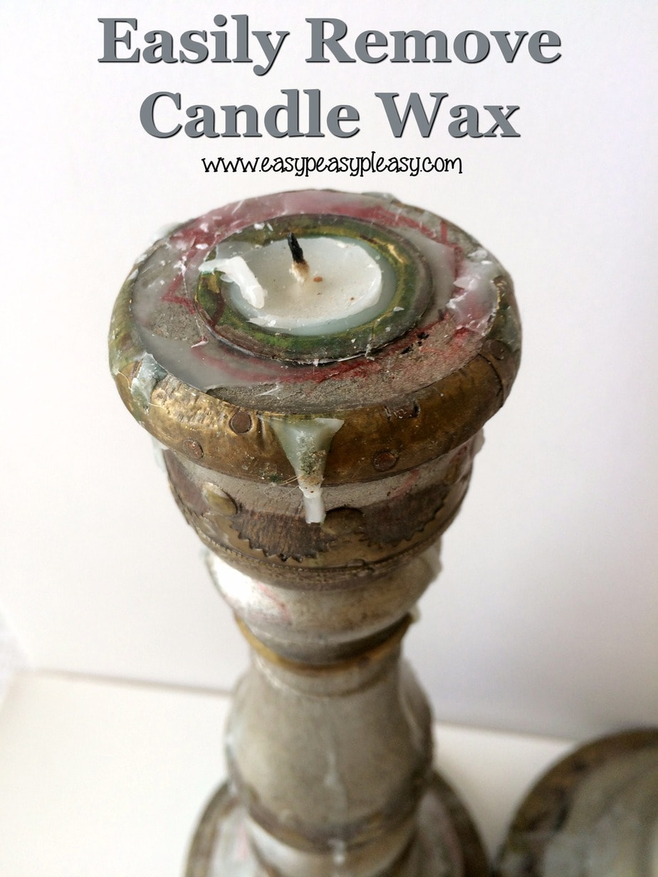 How to easily remove candle wax to transform yard sale candle holders.