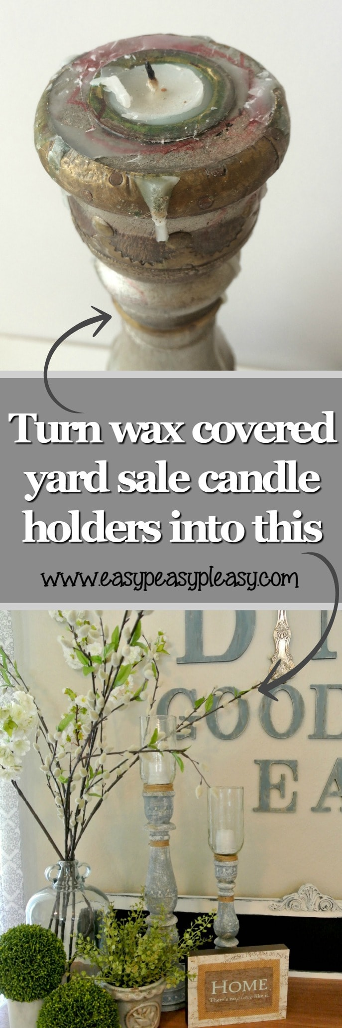 How to easily remove wax from candle holders and transform yard sale candle holders into a thing of beauty!