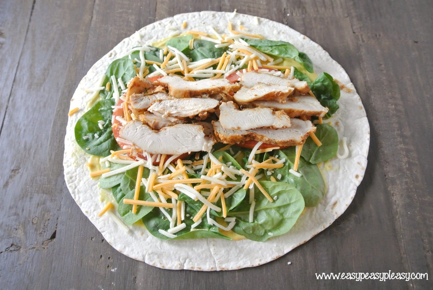 How to make a picture perfect grilled chicken wrap. No wrap is complete without the meat!