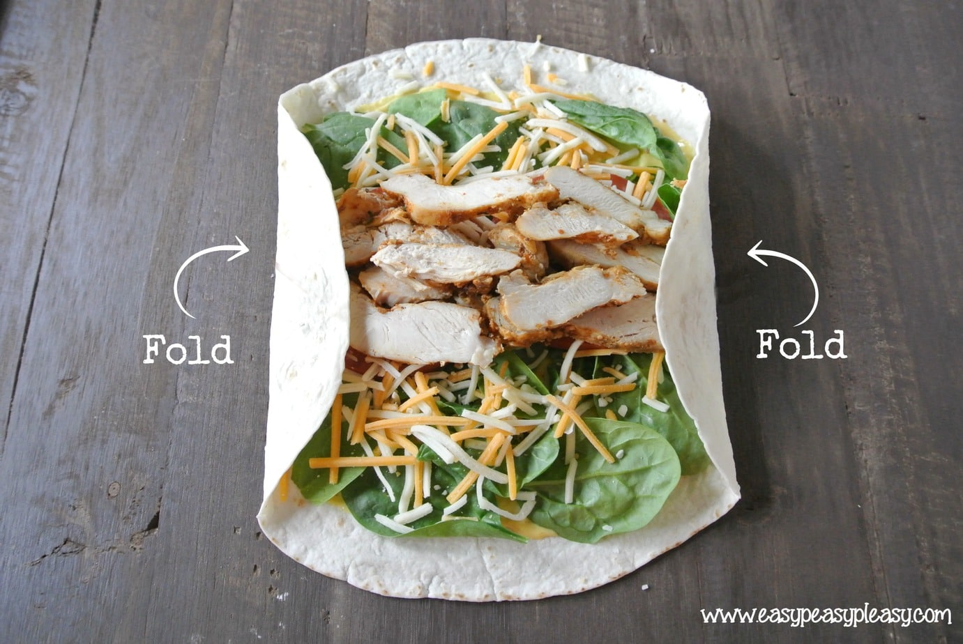 How to make a wrap. Fold in both sides.