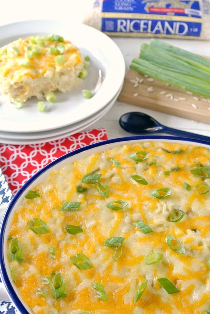 Cheesy Chicken and Green Chile Rice Casserole using Riceland Rice makes weeknight meals easy!
