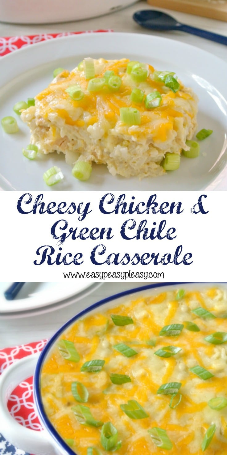 Make weeknight meals easy with this family pleasing Cheesy Chicken and Green Chile Rice Casserole recipe.