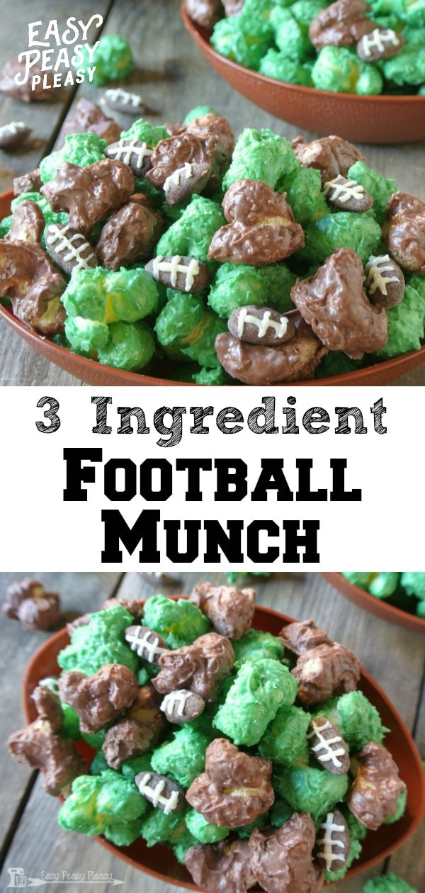 Easy 3 Ingredient Football Munch using candy wafers and puffcorn. No popcorn here. #football #footballmunch #footballsnack #tailgate #tailgatingfood #recipe