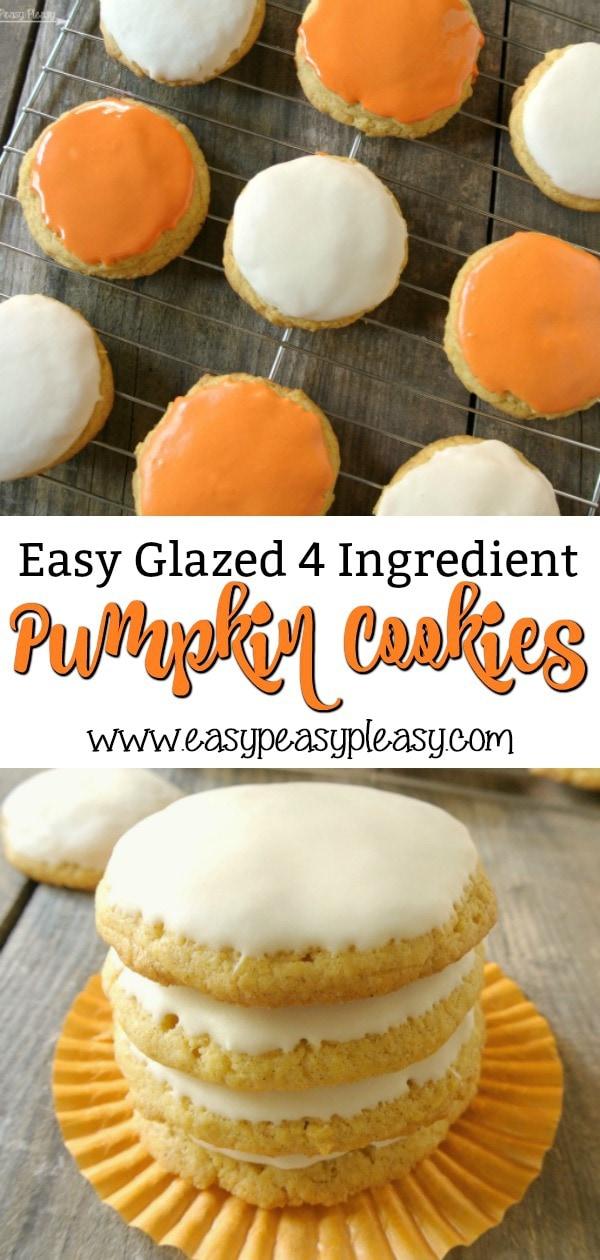 Easy Glazed 4 Ingredient Pumpkin Cookies perfect for Halloween and Fall. #pumpkin #pumpkincookies #howtoglaze #halloween #halloweentreat #cakemixcookies