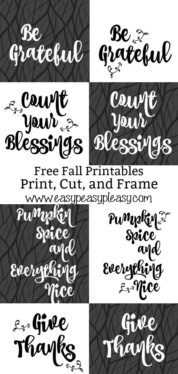 Free Fall Thanksgiving Printables to print, cut, and frame. #fallprintables #thanksgivingprintable #freeprintable