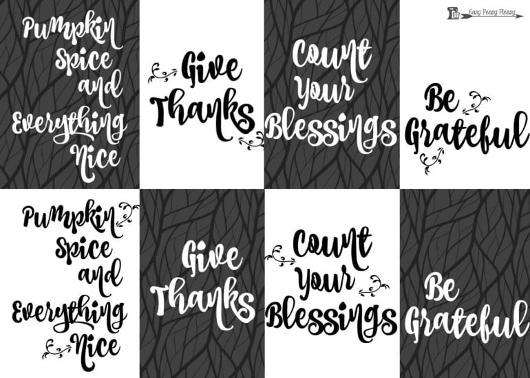 Give Thanks with these free Thanksgiving Printables. 8 free downloads. Just print cut and frame.