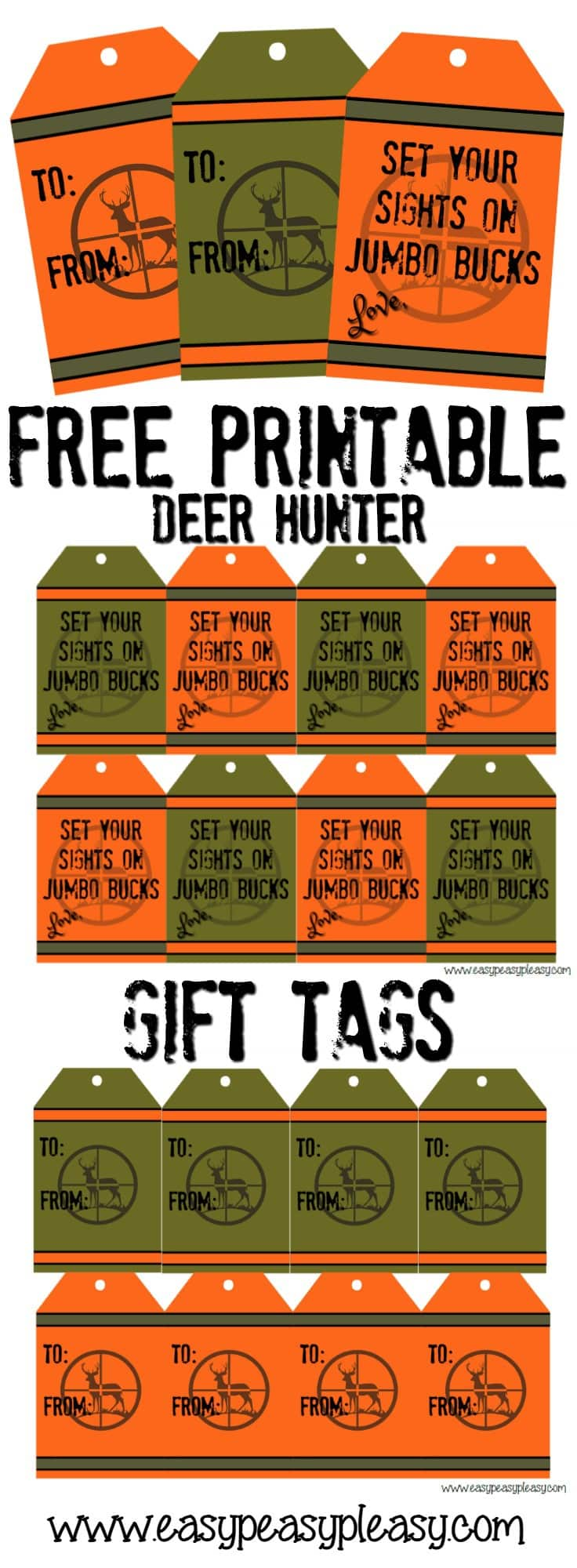 Free printable Deer Hunter Gift Tags. 4 to choose from.
