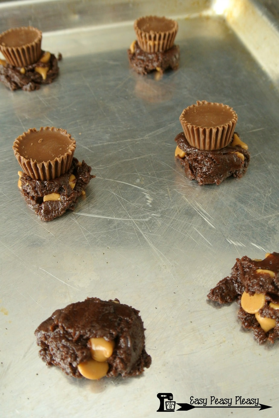 Making Chocolate Peanut Butter Cup Cookies.