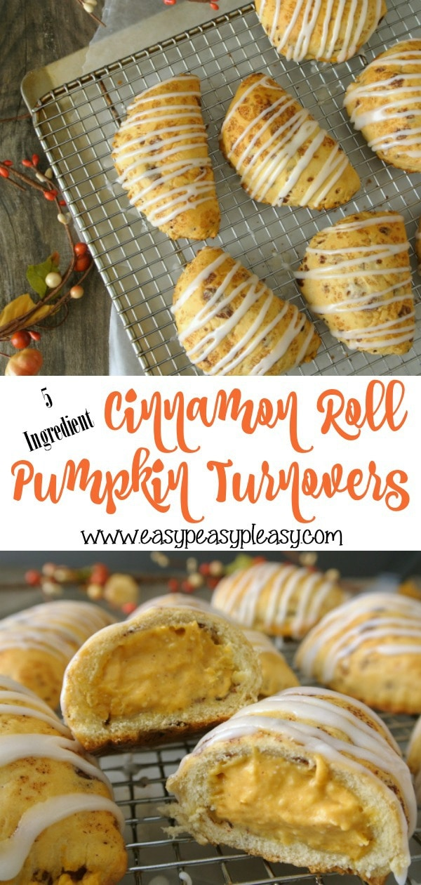 Only 5 Ingredients to make Cinnamon Roll Pumpkin Turnovers perfect for fall and anyone who loves pumpkin and pumpkin spice.