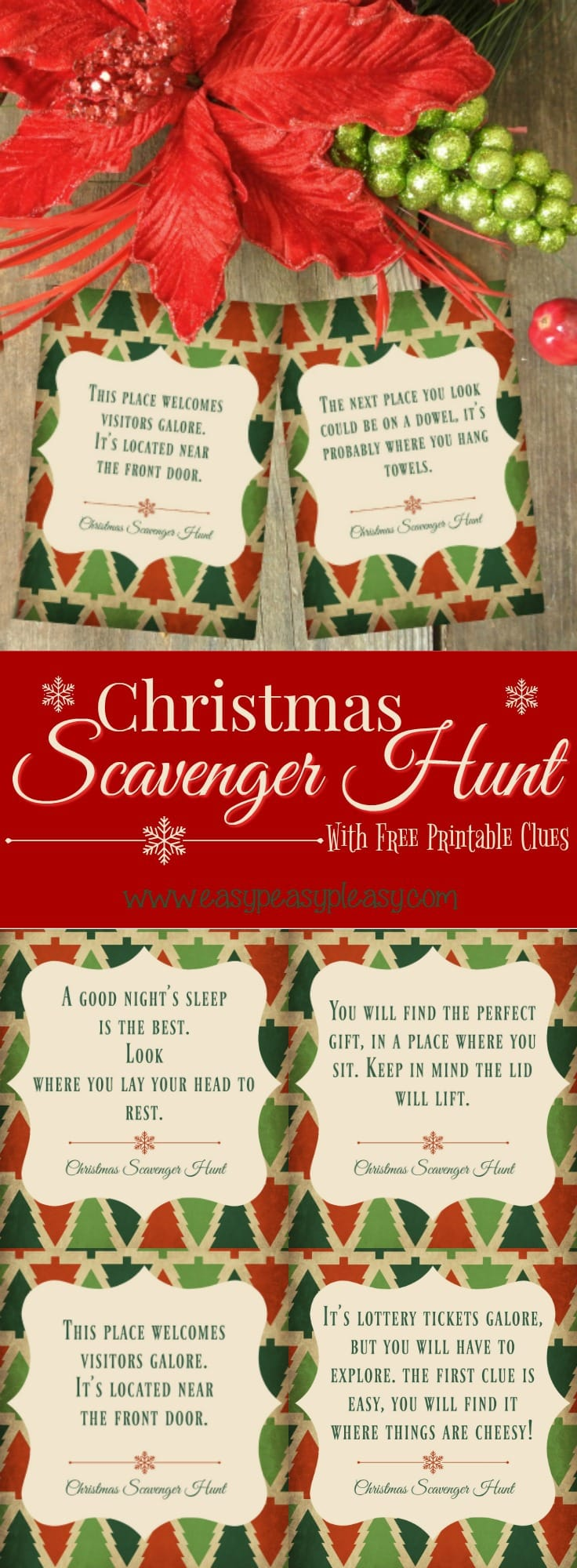 photo regarding Christmas Scavenger Hunt Printable Clues titled Xmas Scavenger Hunt With Absolutely free Printable Clues - Very simple
