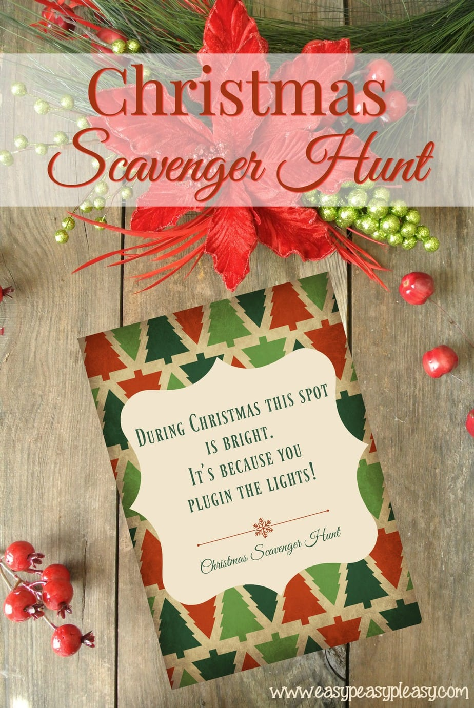 Christmas Scavenger Hunt with Free Printable Clues.